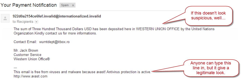 Fake Western Union email