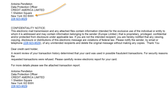 Fake credit card fraudulent transaction email
