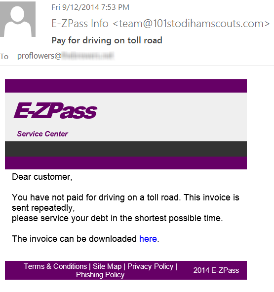 Fake EZ Pass Strikes Again