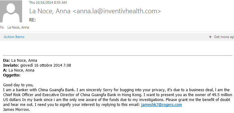 Fake China bank email