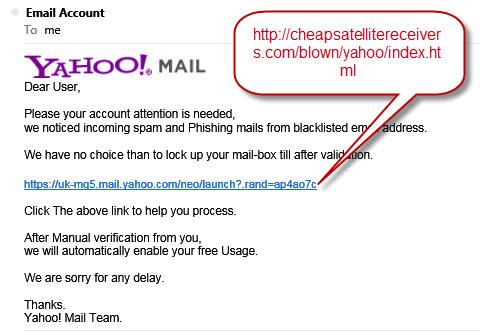 Yahoo spam notice scam