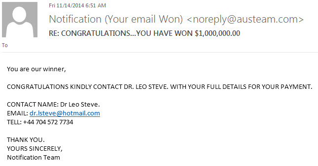 fake winner email