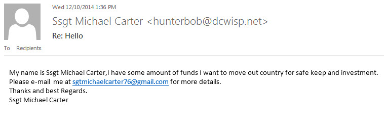 "Fake funds email from ""SSgt"""