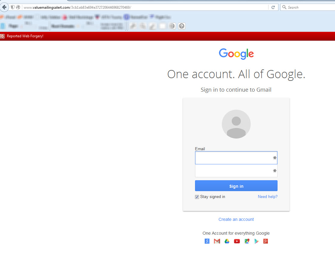 Gmail fake login screen