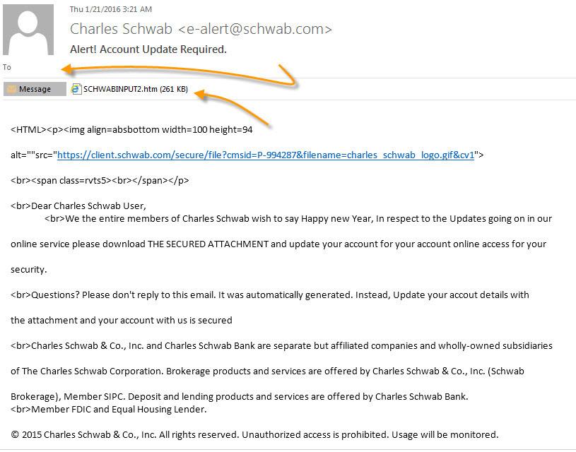 Charles Schwab Fake Email Alert