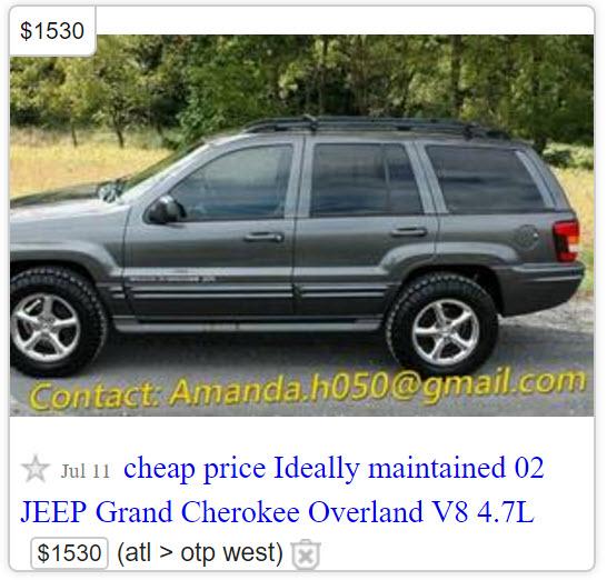Craigslist car ad scam