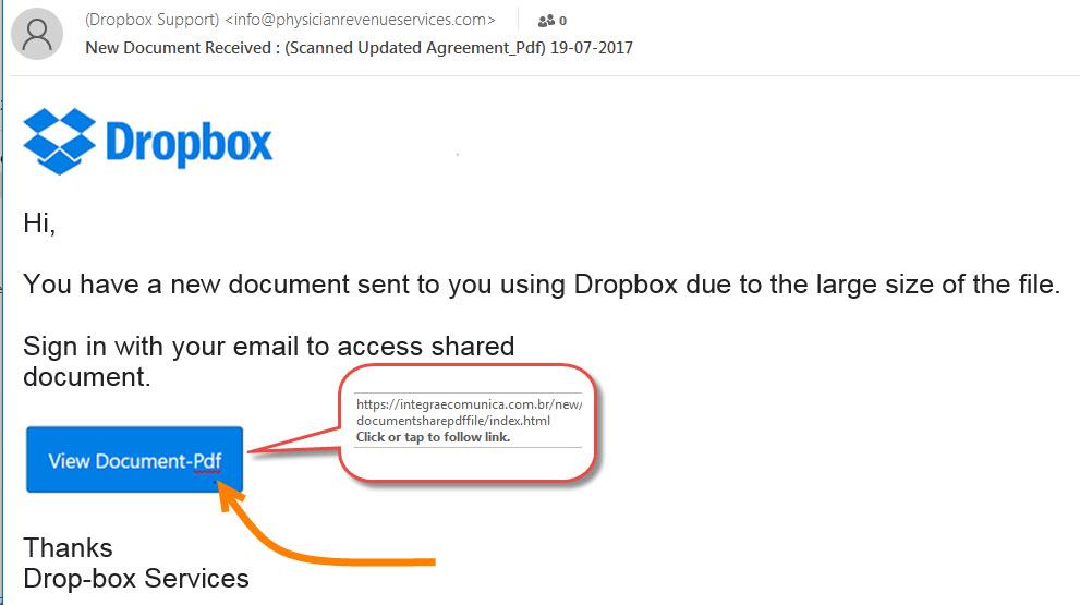 Drobbox Fake PDF email