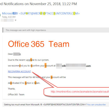Office 365 Upgrade Scam