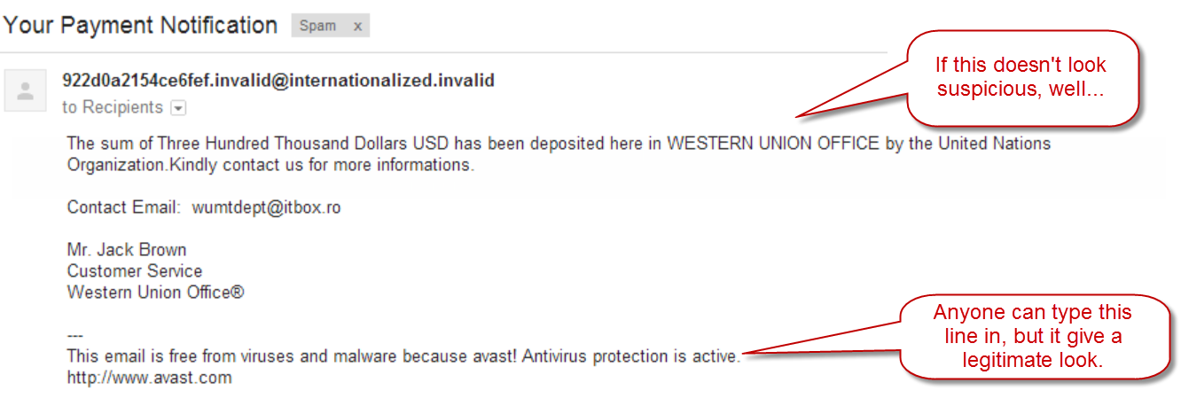 Fake Western Union email