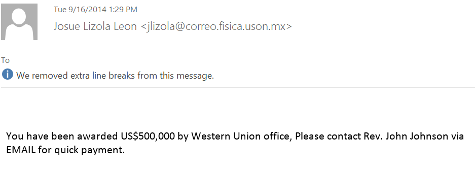 Western Union Scam Email