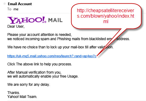 Yahoo spam notice scam