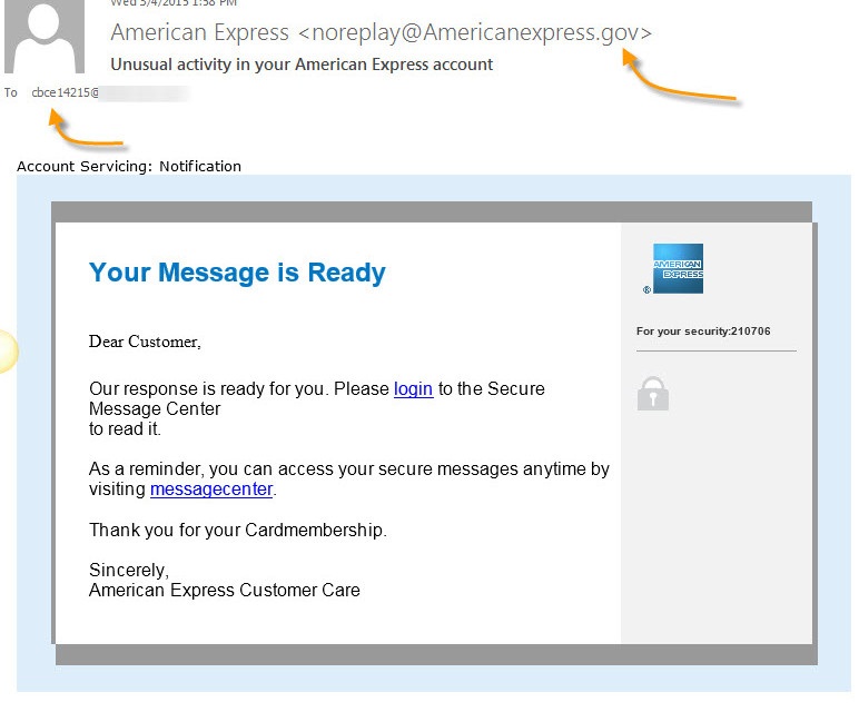 Fake AMEX Activity email
