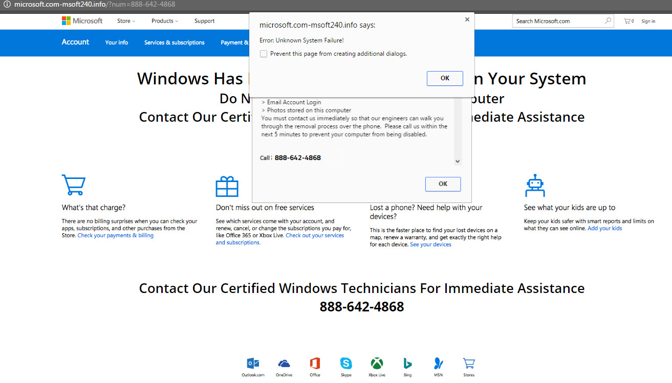 microsoft support pop up fake