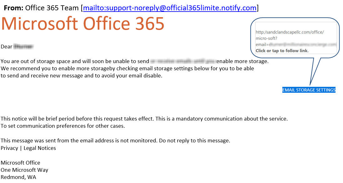 Office 365 Storage Fake Email